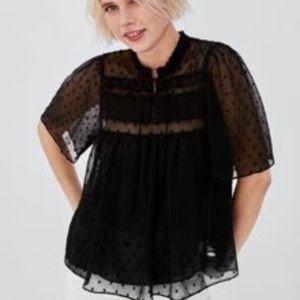 Zara Black Dotted Mesh Top Size Medium NWT